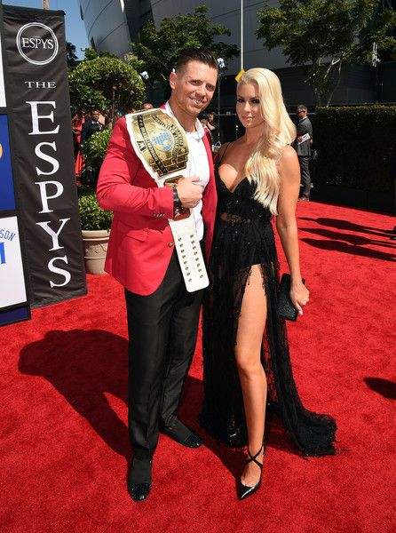 Maryse Ouellet Photos - Professional wrestlers The Miz (L) and Maryse Ouellet attend the 2016 ESPYS at Microsoft Theater on July 13, 2016 in Los Angeles, California. - The 2016 ESPYS - Red Carpet