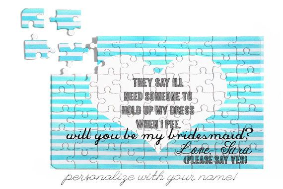 Puzzle Gift Will You Be My BRIDESMAID? Personalized Puzzle FUNNY Striped Design 7x5 63 pieces Great Gift Free Customization