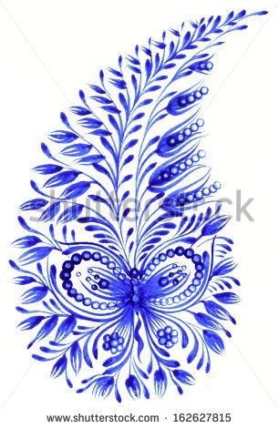 high resolution, hand drawn illustration in Ukrainian folk style - stock photo