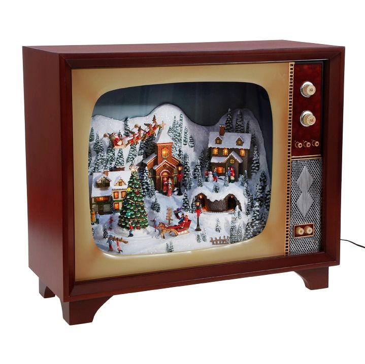 Raz 23 Large Animated Musical Lighted Retro Tv With Village Scene 3716477 Vintage Christmas Decorations Elf Christmas Decorations Retro Tv