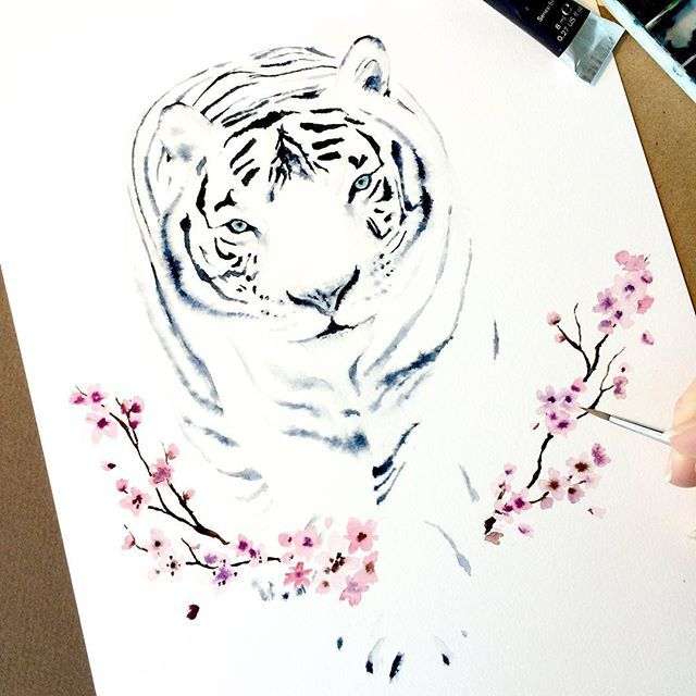 Tiger in Watercolor. Print, Art, Animal, Illustration, Poster, Cherry Blossom, Flowers, White Tiger, Aquarelle, Painting, Wall Art by Cora Illustration. www.coraillustration.etsy.com @coraillustration