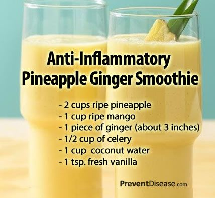 Pineapple has been used for centuries to reduce pain and inflammation. It turns out that an enzyme found in pineapples called bromelain reduces swelling, bruising healing time and pain. Ginger is a potent anti-inflammatory proven stronger than ibuprofen.