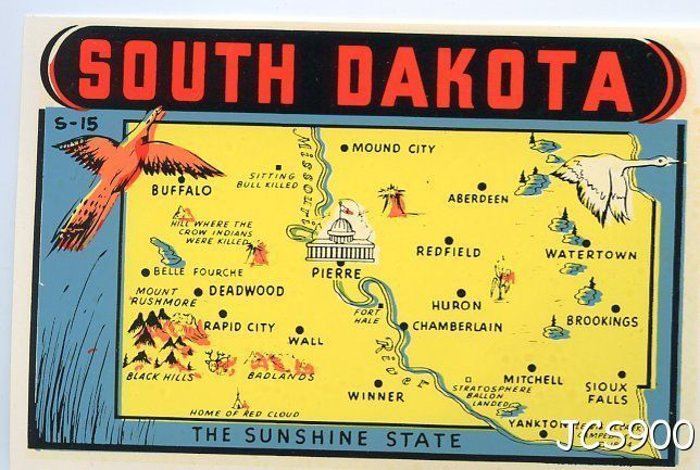 VINTAGE SOUTH DAKOTA SUNSHINE STATE MAP AUTO WINDOW LUGGAGE TRAVEL – South Dakota Travel Information Map