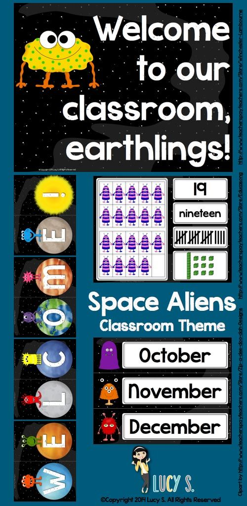 Space Aliens Classroom Theme Decor - spaceships, rockets, planets, astronauts and friendly aliens are going to make your classroom look out-of-this-world cute!