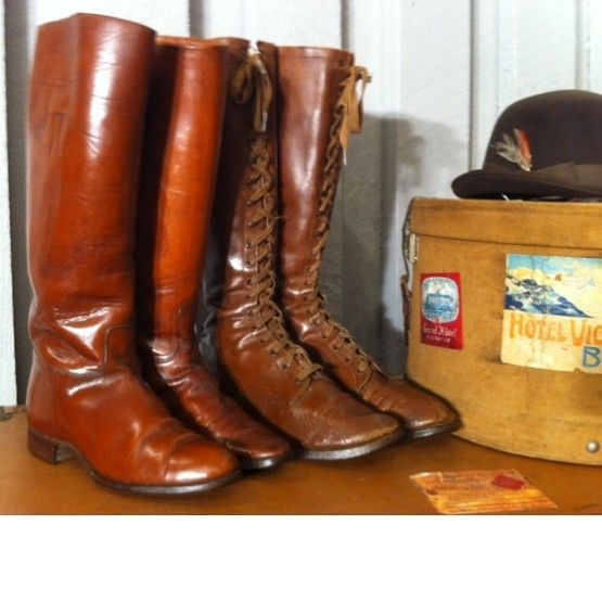 Great brown early ladies riding boots. # riding boots #vintage boots #vintage riding boots  #howardsentertainment #Vintage #Antique
