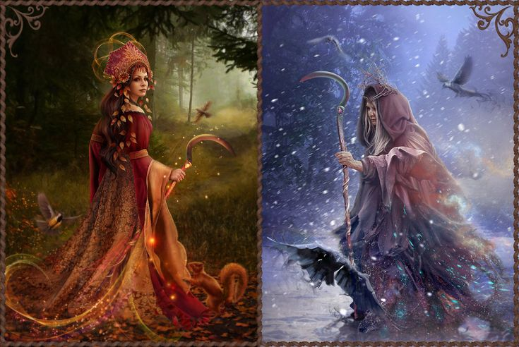 Slavic mythology. Morana by Vasylina. Morana was the Slavic goddess of winter and death. She usually appeared as an ugly old woman, but to those who showed no fear before her she appeared as a beautiful young girl. Morana was a long and cold winter, a winter that could bring death through famine and extreme cold, that could cause disease and massive death of the cattle. Her arrival was therefore always expected with fear and her departure was celebrated with a lot of noise and cheer.