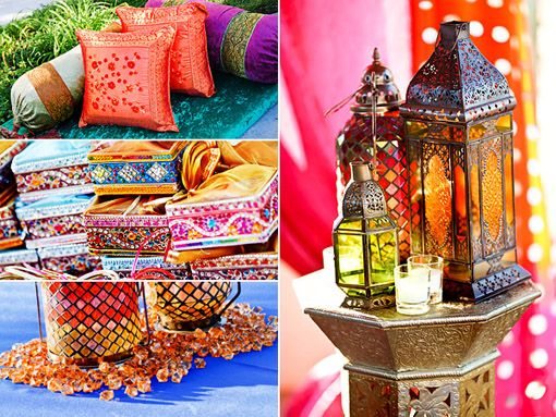 Lantern centerpieces and bright indian colors