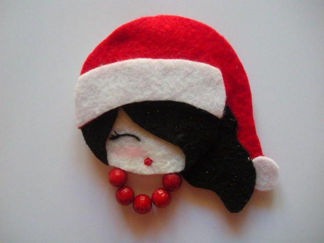 Christmas Girl-I-Felt brooch
