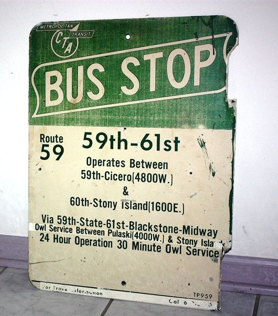 Chicago Bus Stop Sign Route 59 by RustyWindmill on Etsy,