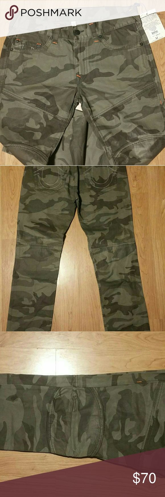 NEW! $299 TRUE RELIGION MENS CAMO PANTS SZ 34 True religion men's slim moto single end slow ride CAMO pants NEW with tags MRSP-$299  Please note: I will not accept low ball offers! I am a seller on other platforms as well I know the resale value for these NWT and I am offering them even lower than the resale value. These are priced to sell, not negotiate. Thank you for your interest. These are also available at qpon.flipper on the eBay platform. True Religion Pants Chinos & Khakis