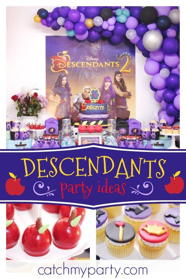 Check Out This Cool Descendants Birthday Party The Dessert Table And Balloon Garland Are Gorgeous