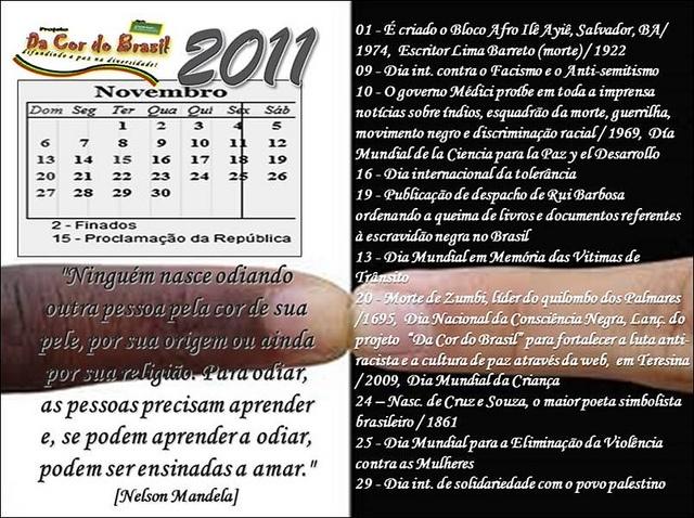 Projeto Da Cor do Brasil - calendário Afrodescendência e Direitos Humanos