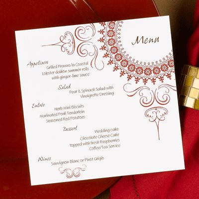 Wedding Menu Card W Taupe Instead Of Red