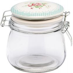 GreenGate Glass Storage Jar - Smilla White 500 ml