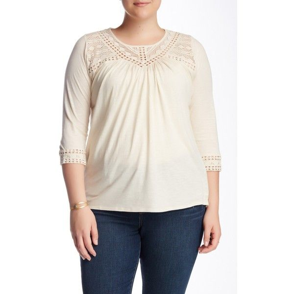 Lucky Brand Chevron Lace Blouse (Plus Size) ($8.92) ❤ liked on Polyvore featuring plus size women's fashion, plus size clothing, plus size tops, plus size blouses, plus size, plus size white blouse, plus size 3/4 sleeve tops, plus size white tops, chevron blouse and lace blouse