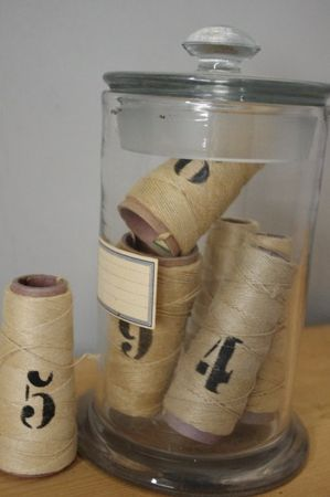 vintage string~cool jar, Love the idea of stencilling numbers on the rolls of jute or twine.