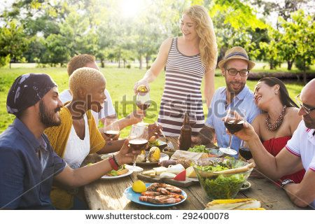 Friends Outdoors Party Celebration Hanging out Concept - stock photo