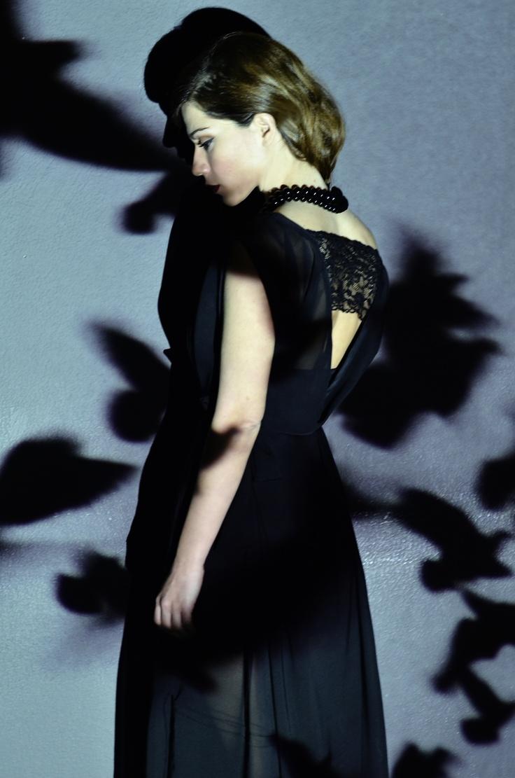 """Vaso Laskaraki in vintage lace dress """"Christina Skarpeli"""""""