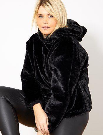 Taglie forti donna - Felpa con cappuccio pelliccia ecologica - Kiabi ... 76c6db740b1