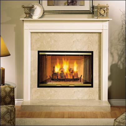 Wood burning fireplace gas line access has easy knockout for Prefab fireplace inserts