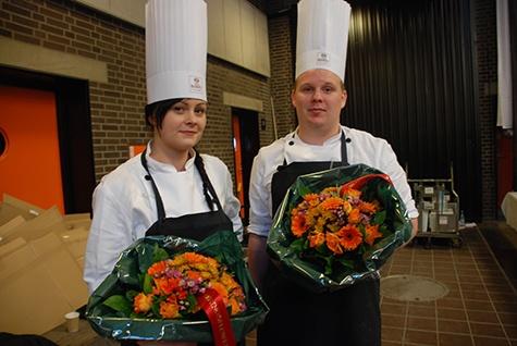 De to dygtige kokkeelever fra Kokke- og Tjenerskolen på Selandia.