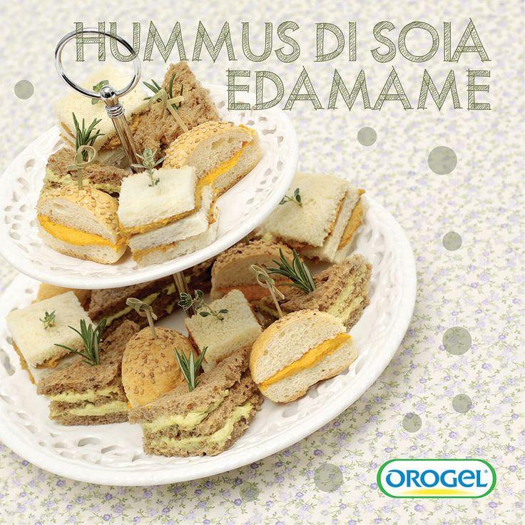 Mini sandwich con #hummus di #soiaedamame