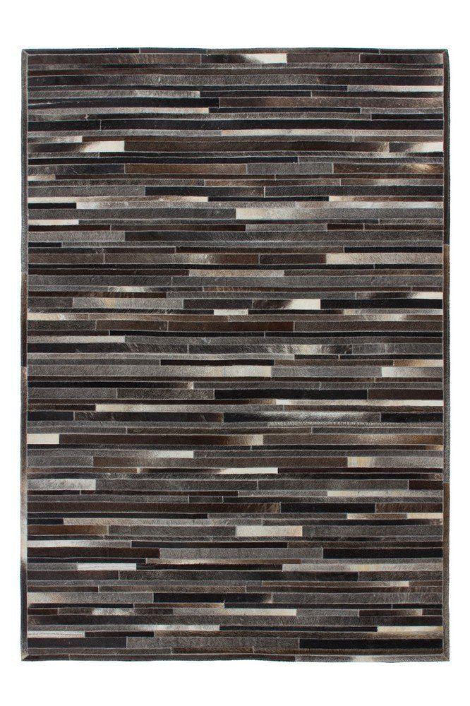 Teppich Wohnzimmer Lederteppich Carpet Modernes Design RUG Lavish 110 Grau Braun 100 Leder 160x230cm