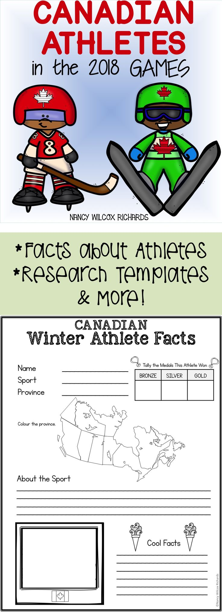 Canada in the 2018 Winter Olympics: facts on athletes, writing, reading, word search,