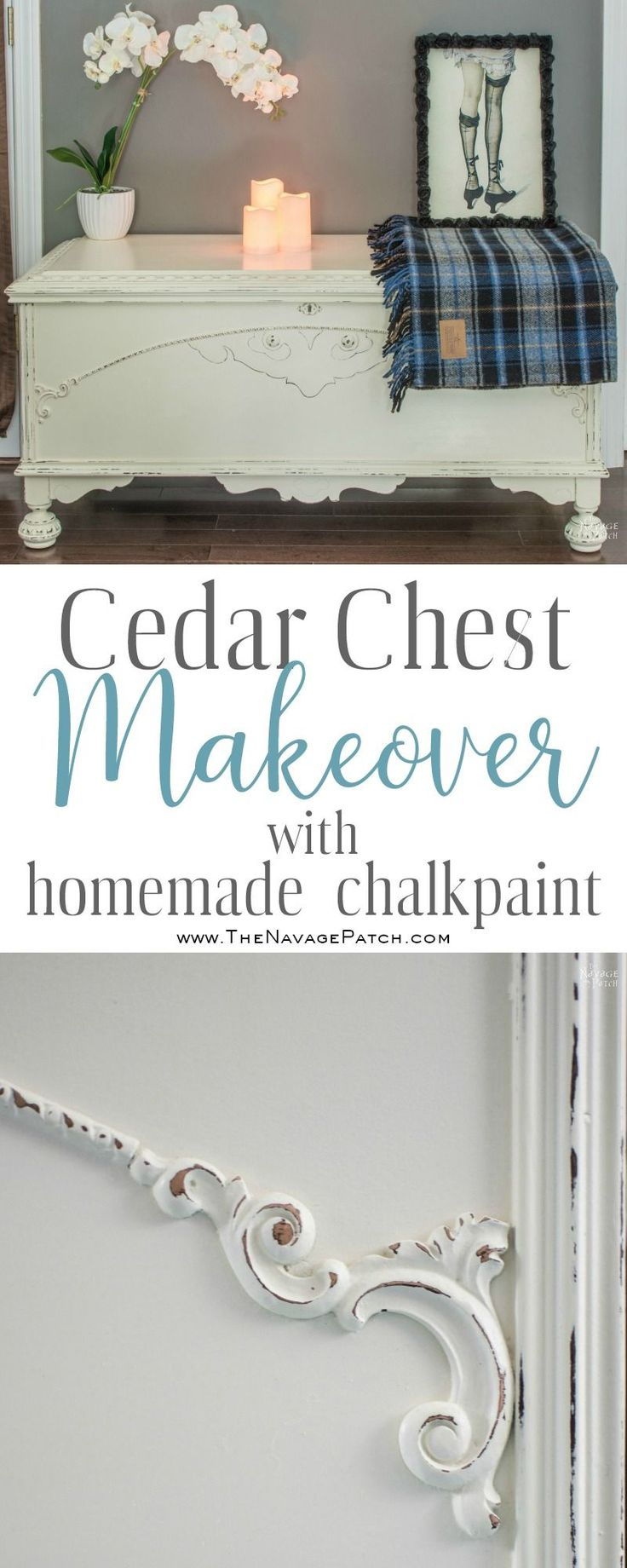 Cedar Chest Makeover | How to cover wood stains when painting with chalk paint |...
