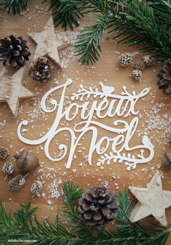 """Christmas Greetings - Joyeux Noel- paper cut designed by Camilla Anchisi for """"I Fall in Chocolate"""" www.ifallinchocolate.com"""