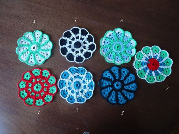 Crochet Coaster Colourful coasters Vintage by VesArtAtelier
