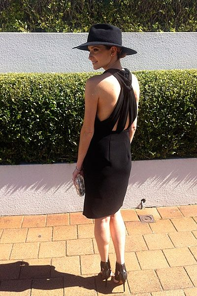 """On Saturday I headed out to Royal Radnwick for Derby Day to watch Black Caviar win her 25th race. I wore a black Dion Lee dress and a Dion Lee/Hatmaker hat and a Gucci clutch."""