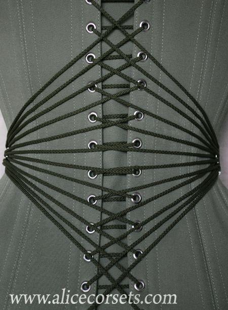Alice Corsets in Ukraine made this beautiful pristine fan-laced corset.