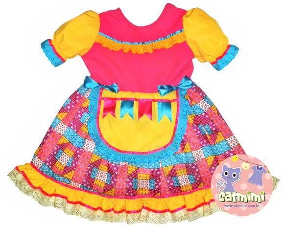 Vestidos e roupas infantis de festa junina! - Mil dicas de mãe