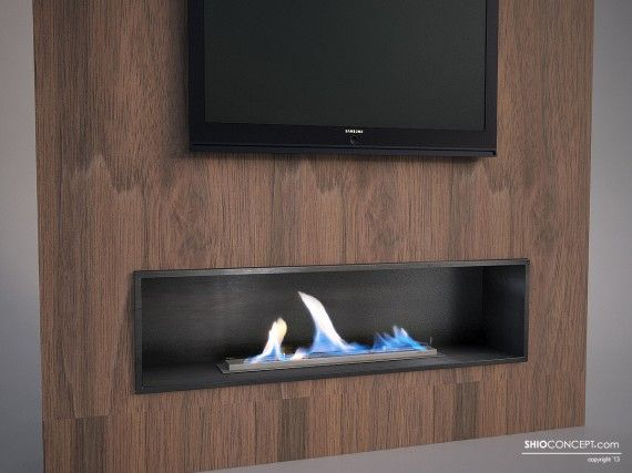 Chimenea de bioetanol empotrable sobre pared en madera - Muebles de chimenea ...