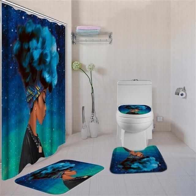 Four Piece African Woman With Blue Hair Shower Curtain And Rugs