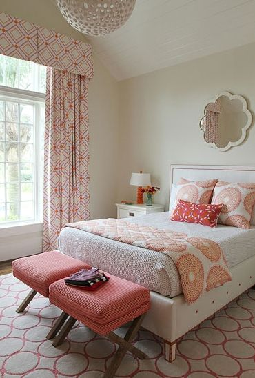 Andrew Howard interior Design: Chic pink and orange girl's room with mirror., pink and orange interior