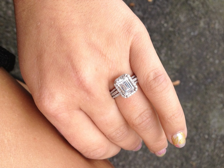 Emerald cut diamond ring wedding sets