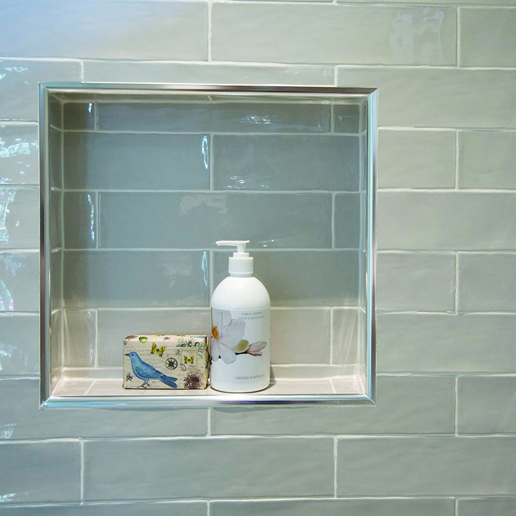 Shower niche: A handy little nook for the shower essentials. This shower features Masia Gris Claro laid in a horizontal brick pattern.   #details #nationaltiles