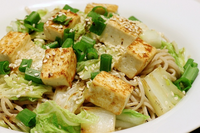 soba with napa cabbage and tofu by little blue hen, via Flickr