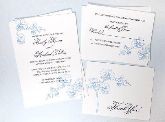 Printable Botanical Wedding Invitation  Blue Orchid by encrestudio, $50.00