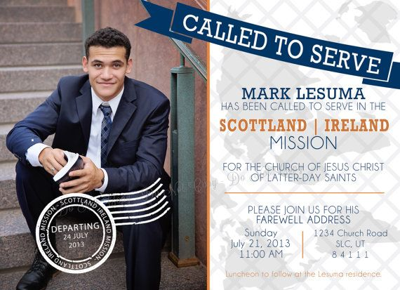 LDS Missionary Farewell Invitation -  Called To Serve Custom Elder Invitation