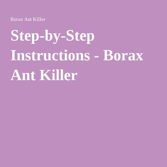 Step-by-Step Instructions - Borax Ant Killer