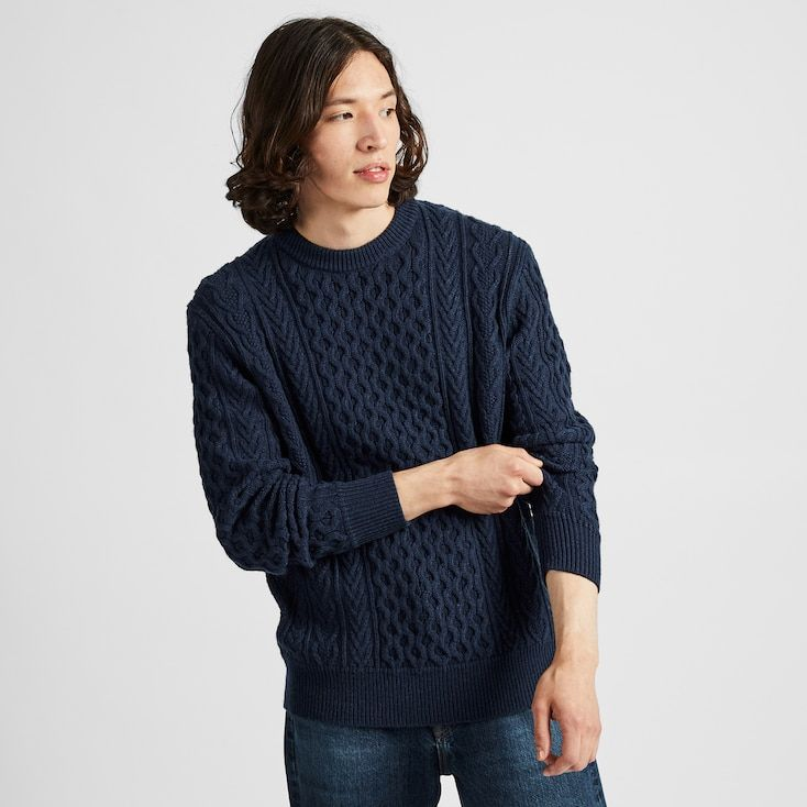 Men Cable Crew Neck Long Sleeve Sweater Long Sleeve Sweater Men Sweater Sweaters