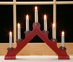 Red Electric Candlestick Lamp, 7 candles