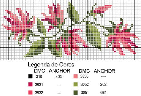 Sandrinha Ponto Cruz: Barrados de flores! #cross-stitch