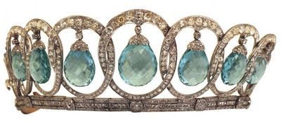 Queen Victoria Eugenia's Aquamarine Tiara current form - see close up pin. She…