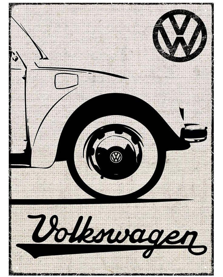 VW Beetle Hessian Outline Metal Wall Sign
