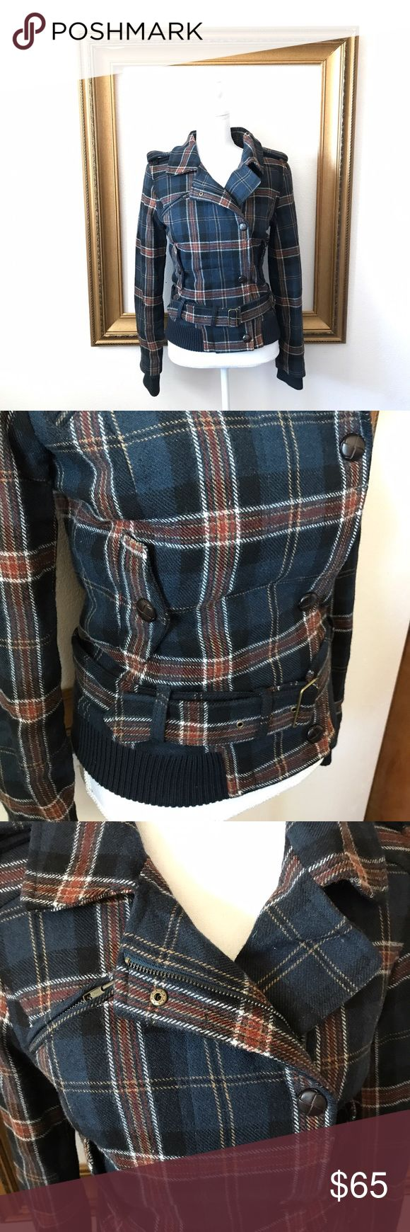 MNG by Mango blue plaid Moro zip winter jacket XS In excellent used condition! 18.5 inches armpit to armpit. 22 inches shoulder to bottom of jacket. 19 inches armpit to end of sleeve. Mango Jackets & Coats