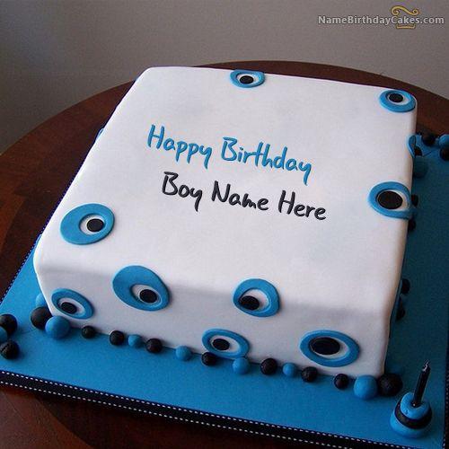 Write name on Blue Birthday Cake For Boys - Happy Birthday ...